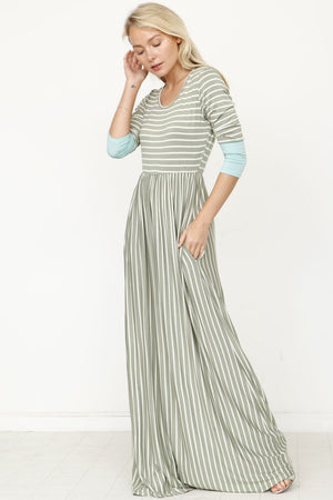 Sage Stripe Mint Cuff Maxi Dress