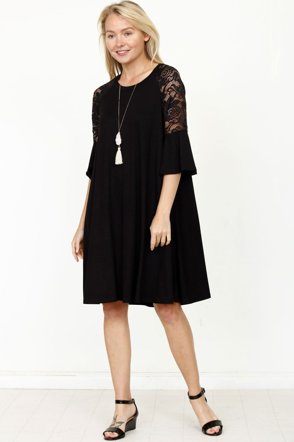 Black Lace Ruffle Sleeve Dress