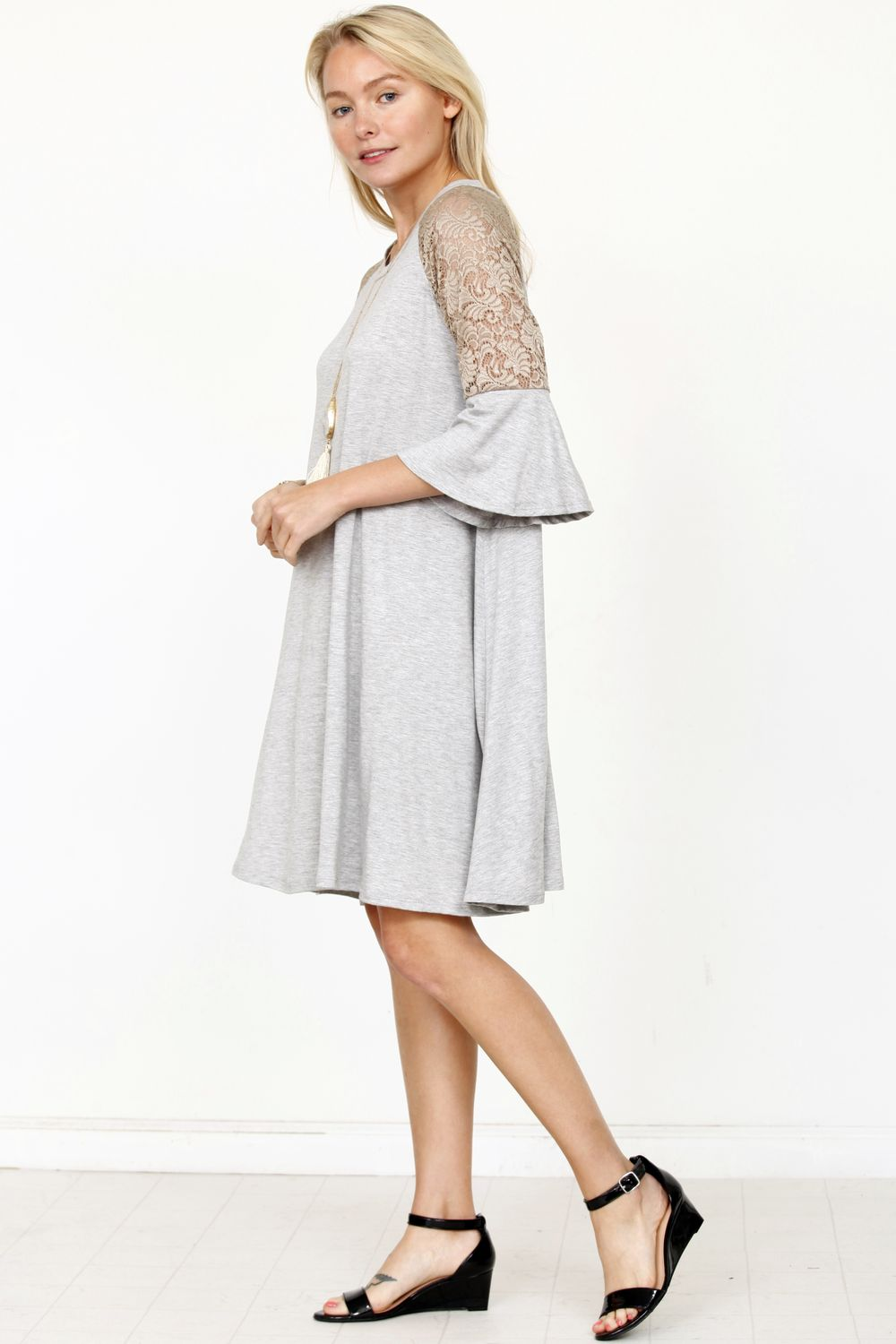 Grey & Gold Lace Ruffle Sleeve Dress
