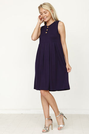 Navy Sleeveless Button Accent Pleated Mini Dress