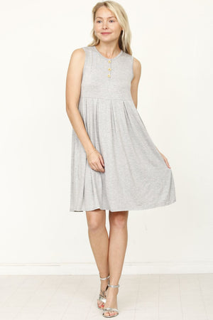 Grey Sleeveless Button Accent Pleated Mini Dress