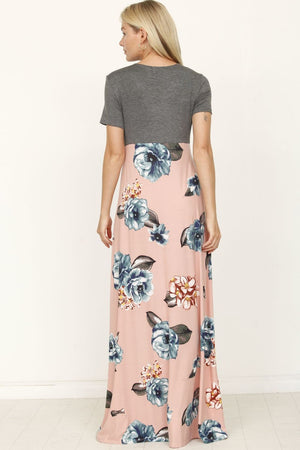 Pink Floral Surplice High Waist Maxi Dress