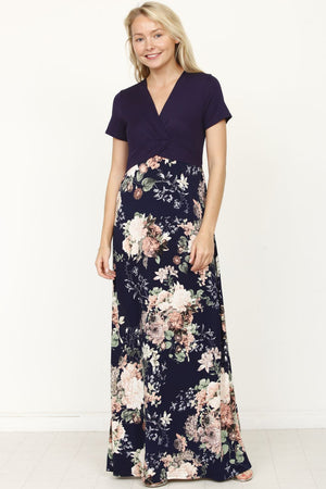 Navy Floral Short Sleeve Surplice High Waist Maxi Dress