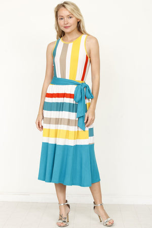 Cyan Multi Stripe Sash Midi Dress