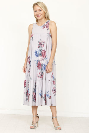 Grey Floral Tiered Sleeveless Midi Dress