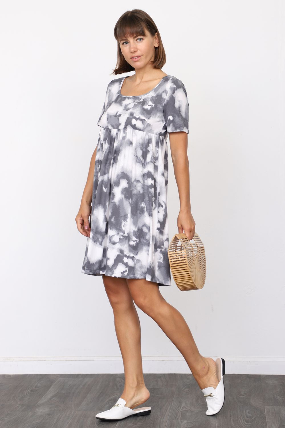 Charcoal Marble Tie Dye Short Sleeve Empire Waist Mini Dress