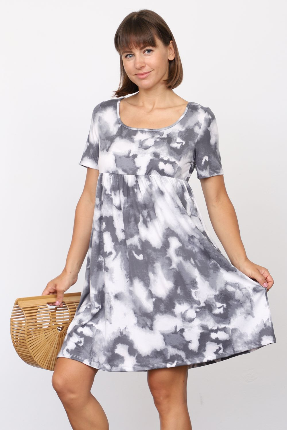 Charcoal Marble Tie Dye Short Sleeve Empire Waist Mini Dress_Plus