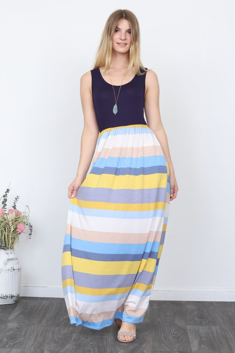 Solid Navy Sleeveless Top & Multi Stripe Maxi Dress