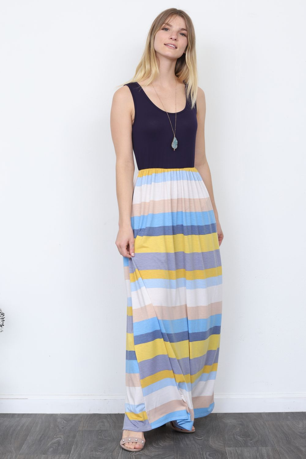 Solid Navy Sleeveless Top & Multi Stripe Maxi Dress_Plus