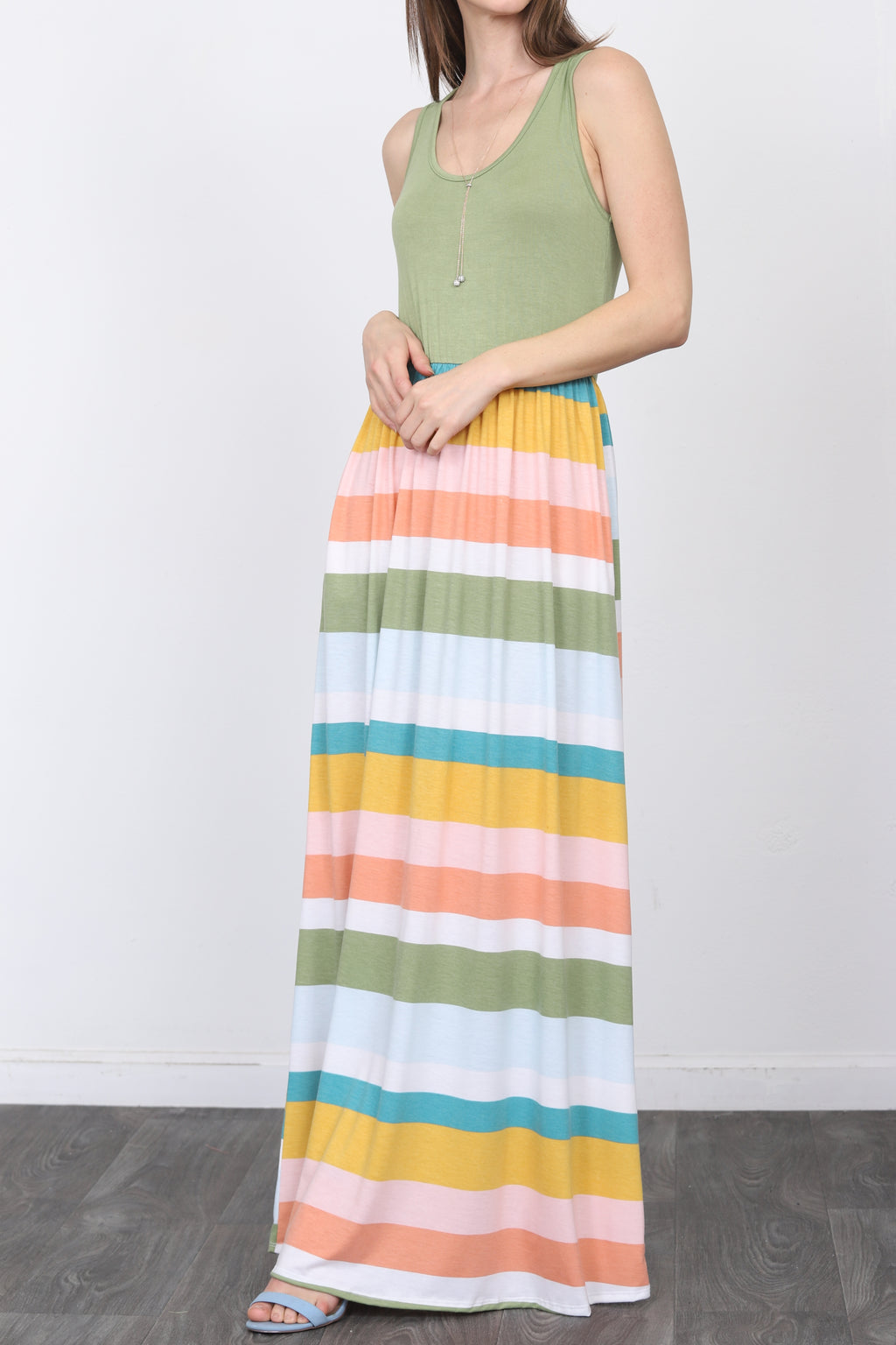Solid Sage Sleeveless Top & Multi Stripe Maxi Dress_Plus