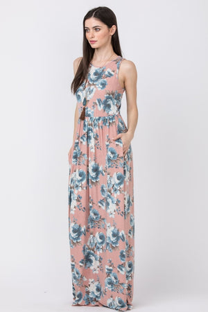 Pink & Blue Floral Sleeveless Maxi Dress_Plus