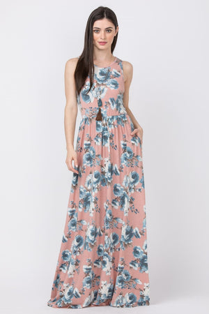 Pink & Blue Floral Sleeveless Maxi Dress