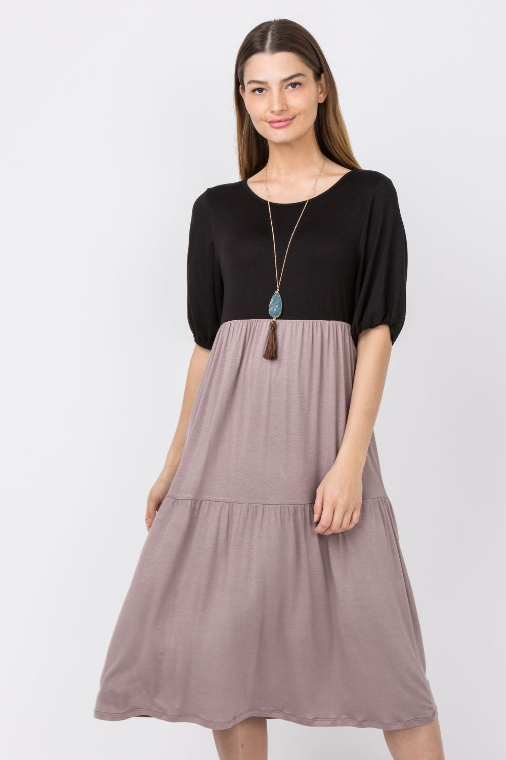 Black & Mocha Two Tone Puff Sleeve Tiered Midi Dress_Plus