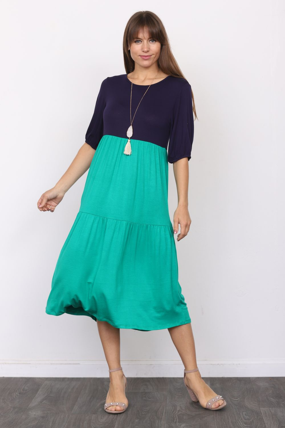 Navy & Kelly Green Two Tone Puff Sleeve Tiered Midi Dress_Plus
