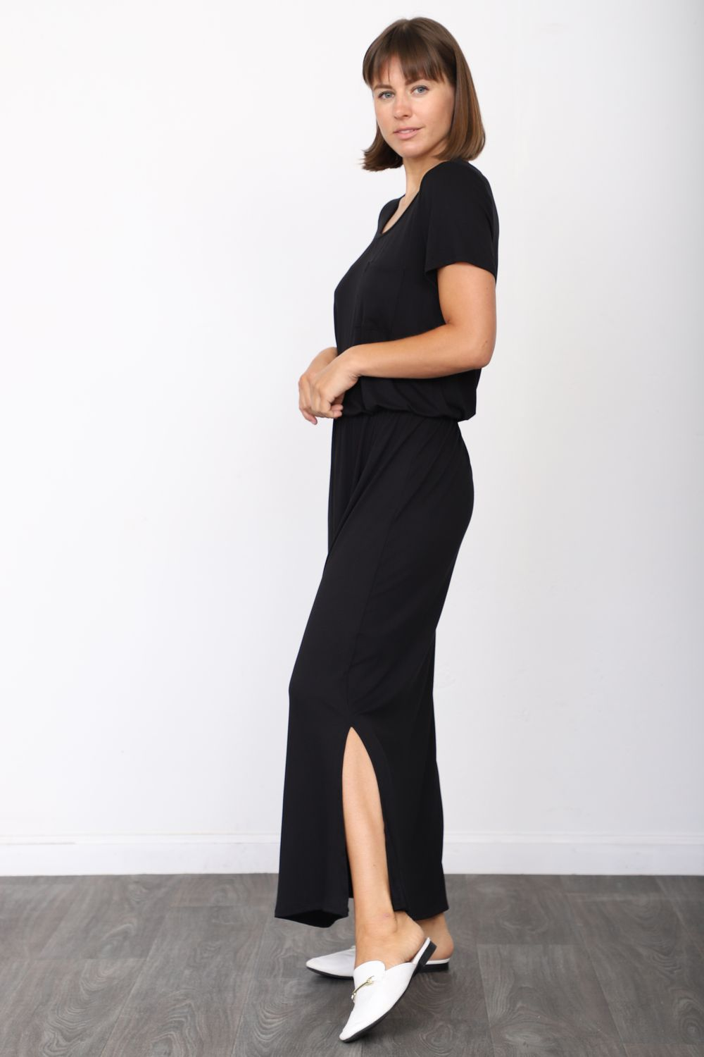 Solid Black Short Sleeve Maxi Dress with Side Slit