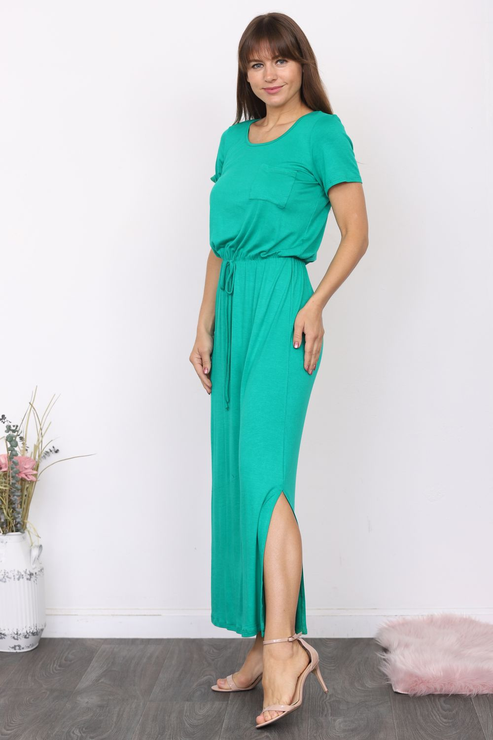 Kelly Green Short Sleeve Maxi Dress with Side Slit_Plus