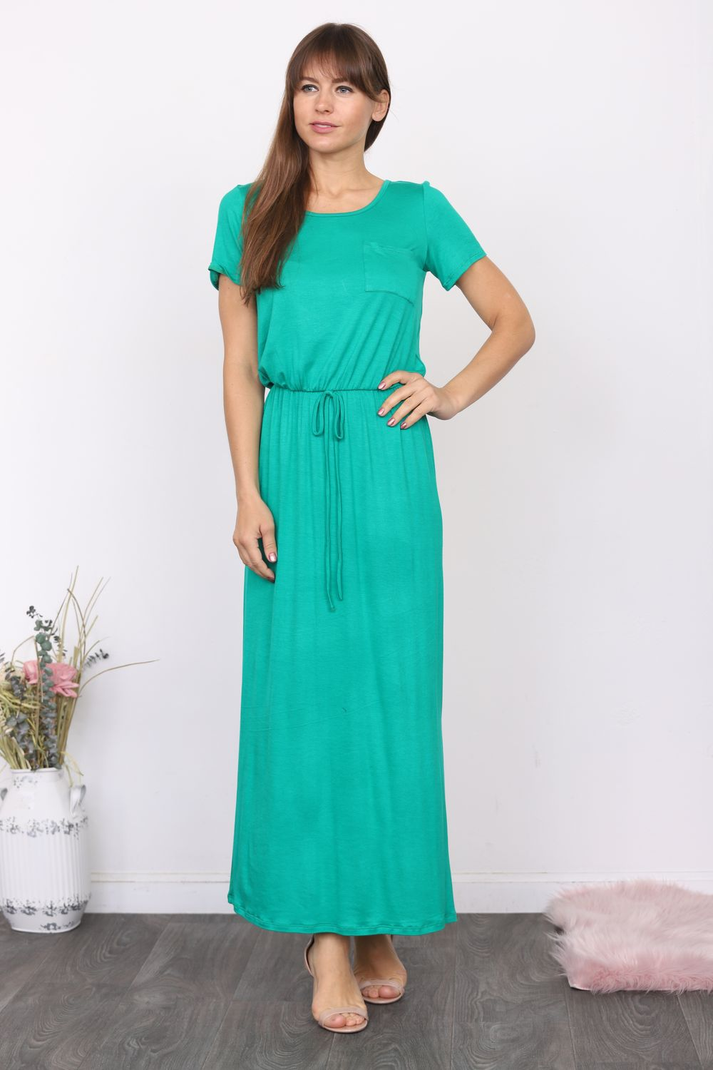 Kelly Green Short Sleeve Maxi Dress with Side Slit