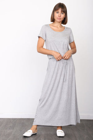 Solid Grey Short Sleeve Maxi Dress with Side Slit