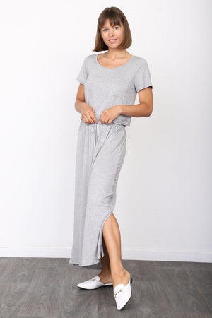 Solid Grey Short Sleeve Maxi Dress with Side Slit_Plus
