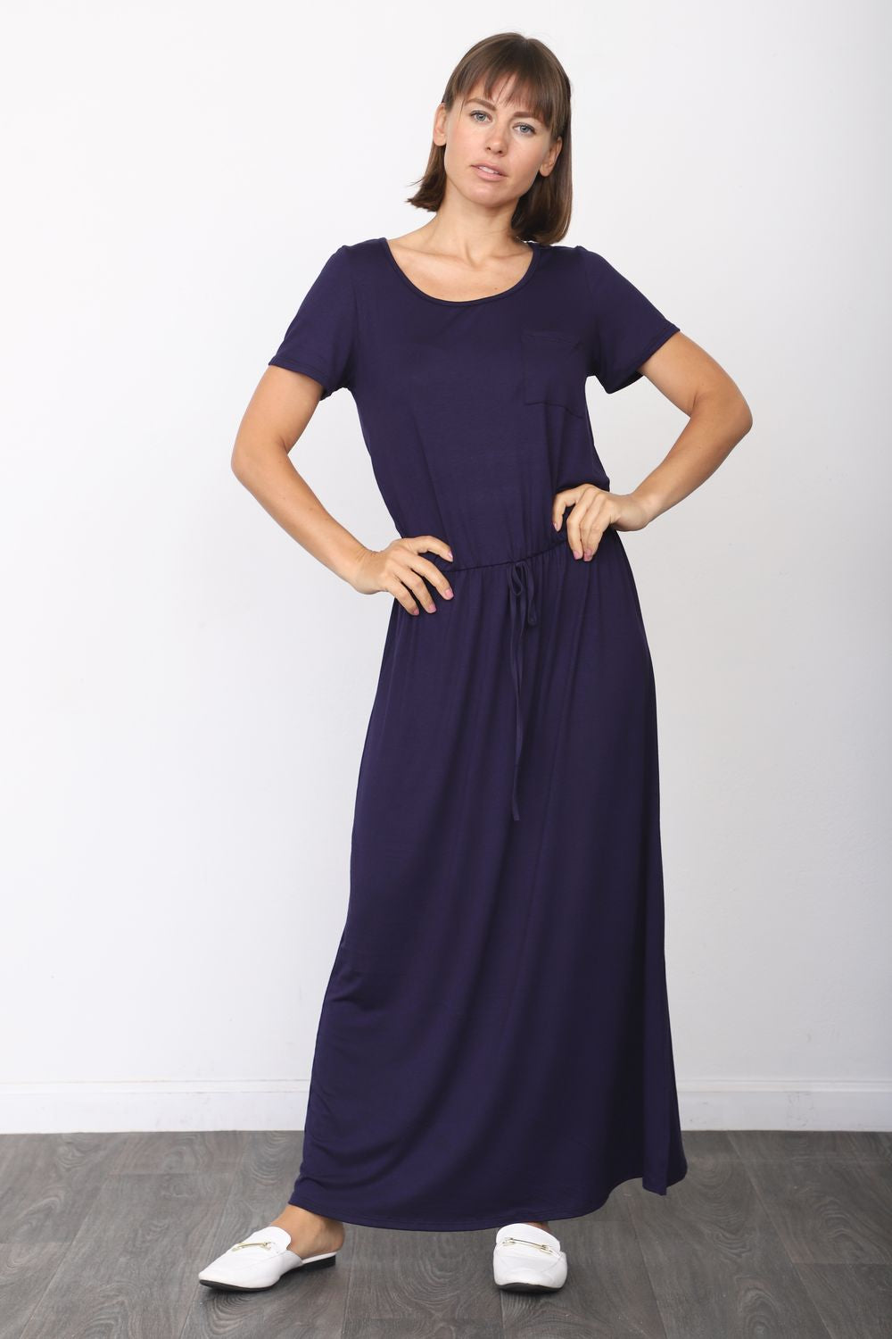 Solid Navy Short Sleeve Maxi Dress with Side Slit_Plus