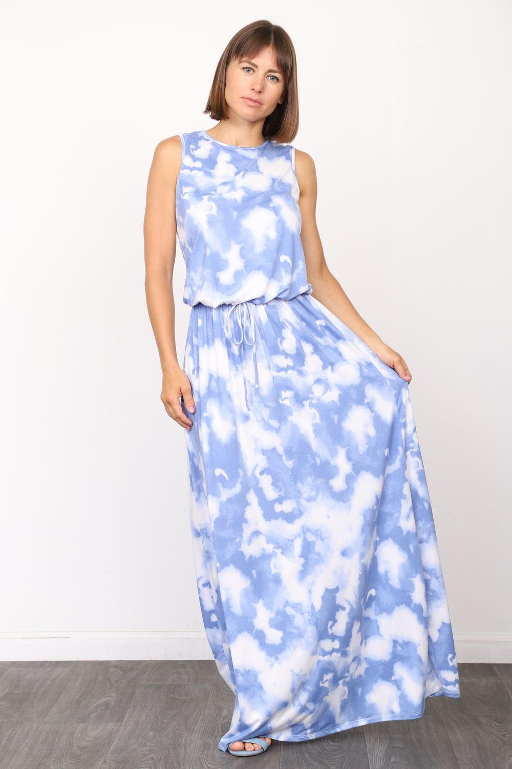 Cloud Tie Dye Sleeveless Blouson Maxi Dress_Plus