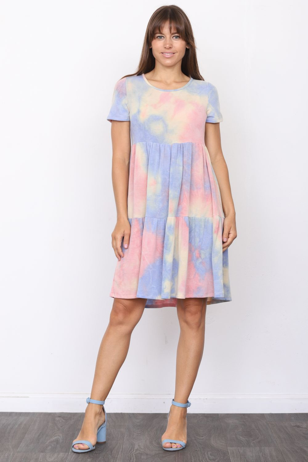 Pink & Baby Blue Tie-Dye Short Sleeve Tiered Mini Dress_Plus