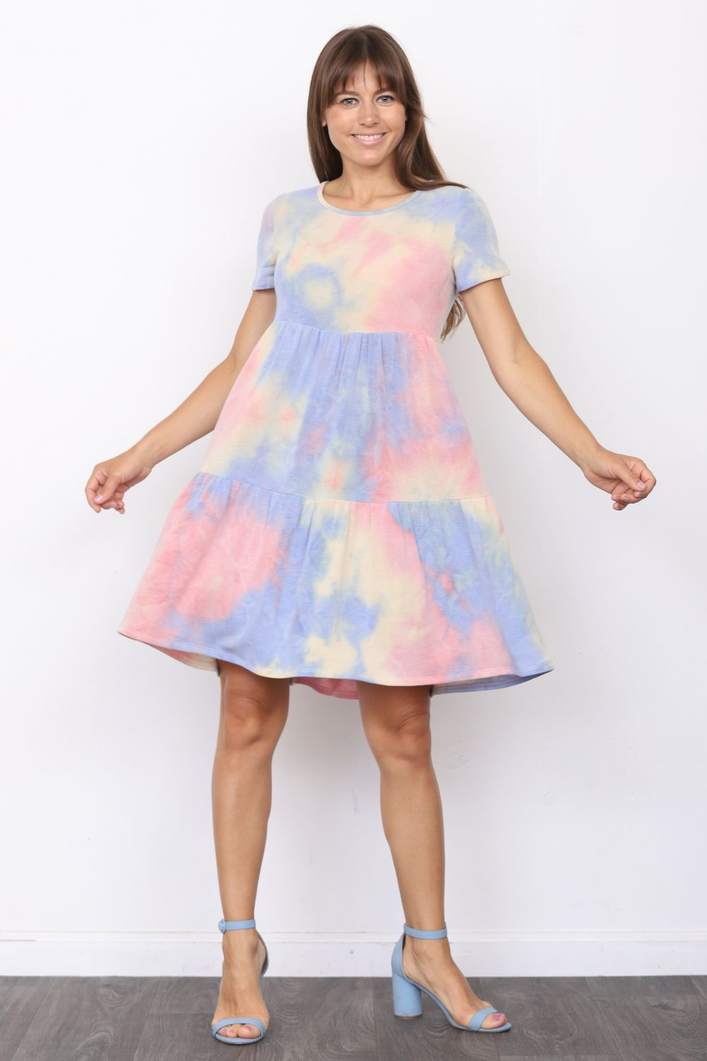 Pink & Baby Blue Tie-Dye Short Sleeve Tiered Mini Dress