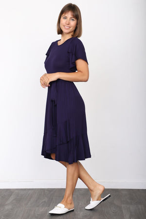 Solid Navy Short Sleeve Tulip Hem Midi Dress with Sash
