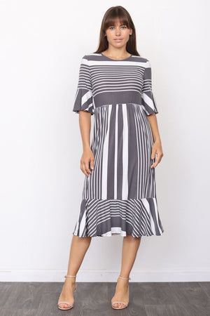 Charcoal Multi Stripe Ruffle Sleeve Midi Dress_Plus