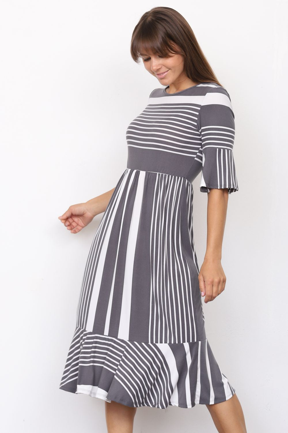 Charcoal Multi Stripe Ruffle Sleeve Midi Dress