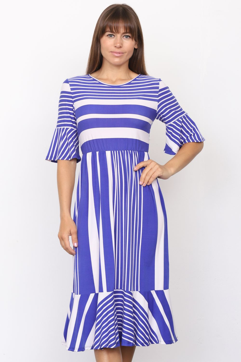 Royal Blue Multi Stripe Ruffle Sleeve Midi Dress