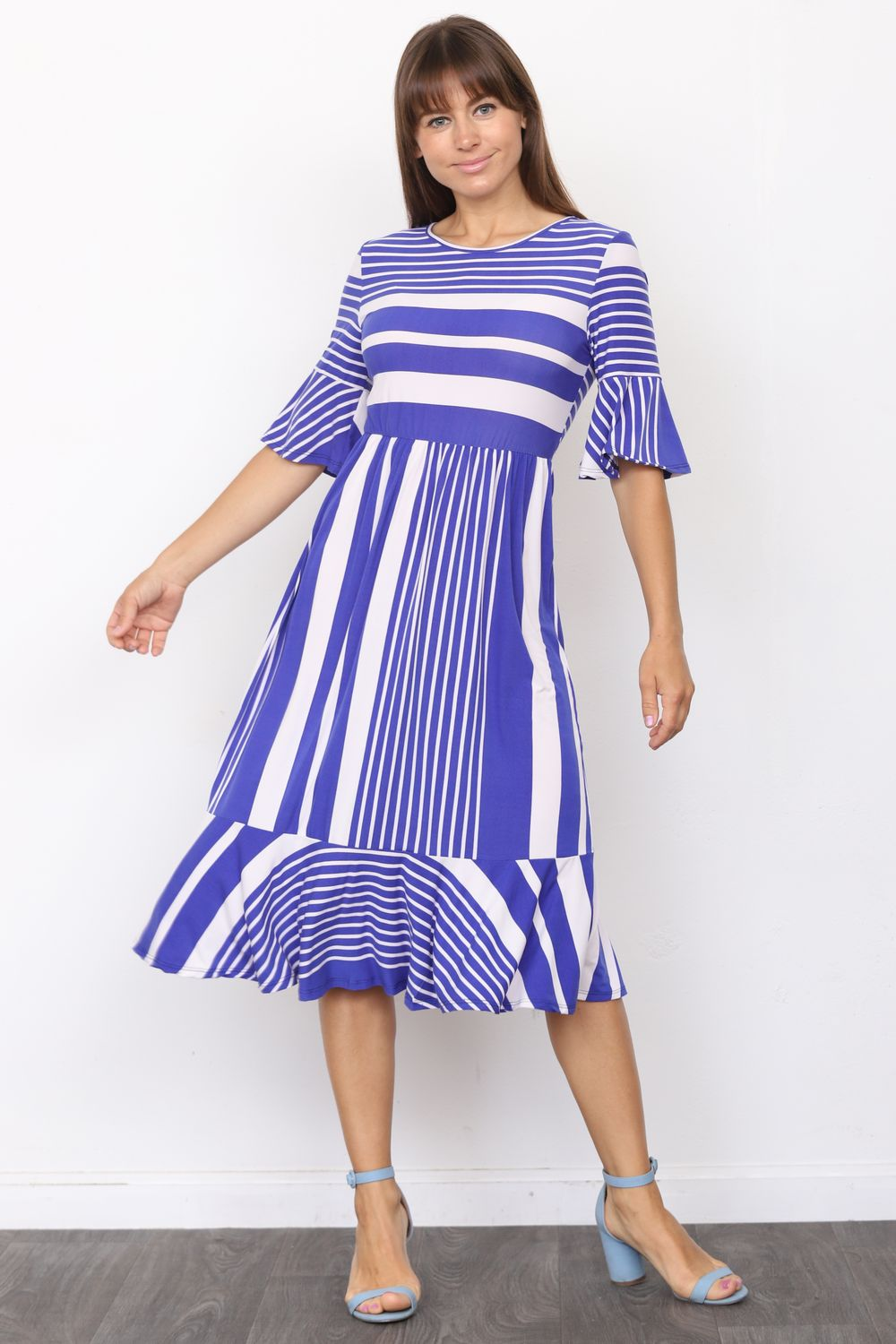 Royal Blue Multi Stripe Ruffle Sleeve Midi Dress_Plus