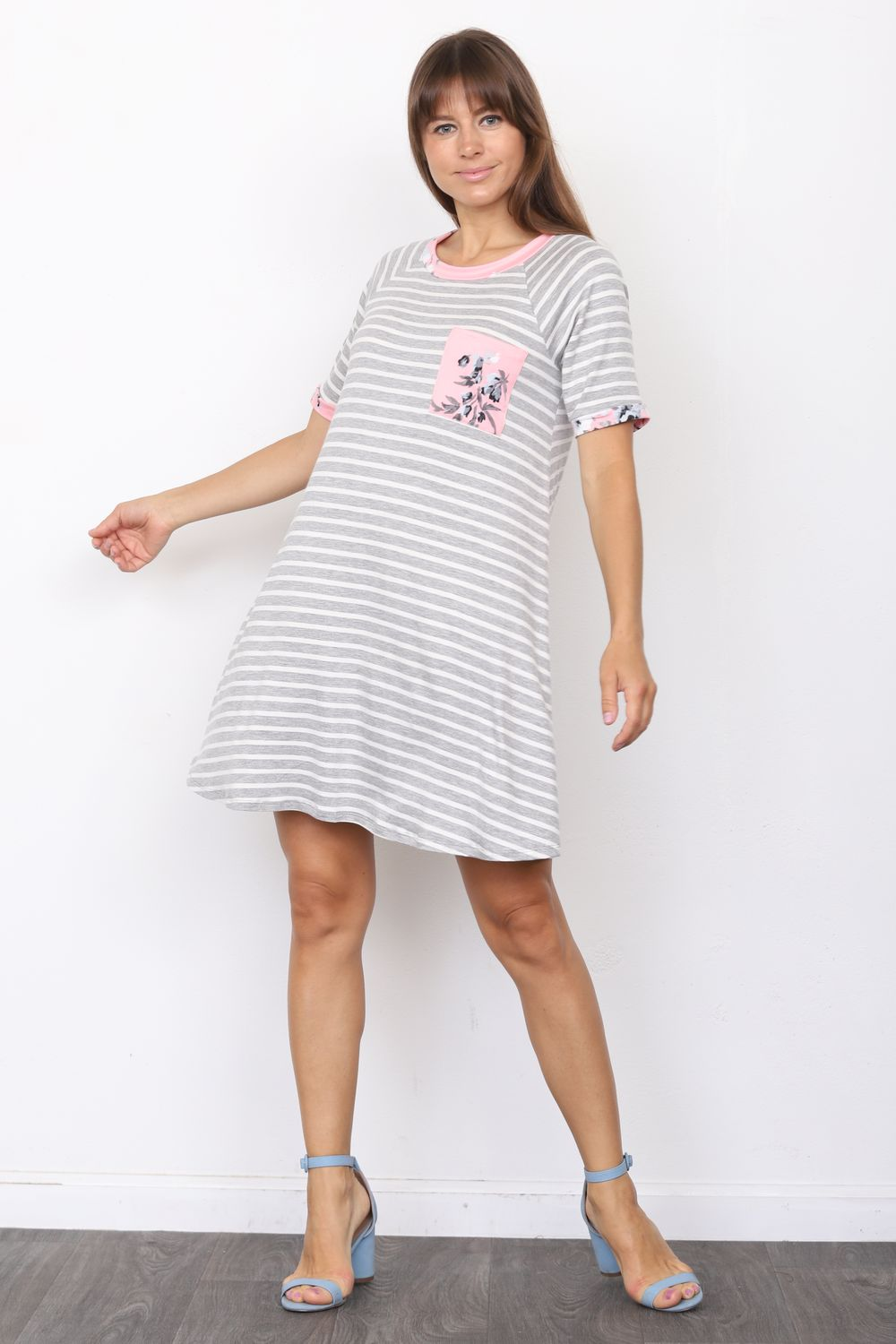 Grey Stripe Short Sleeve Mini Dress with Pink Floral Front Pocket_Plus