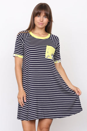 Navy Stripe Short Sleeve Mini Dress with Neon Yellow Floral Front Pocket_Plus