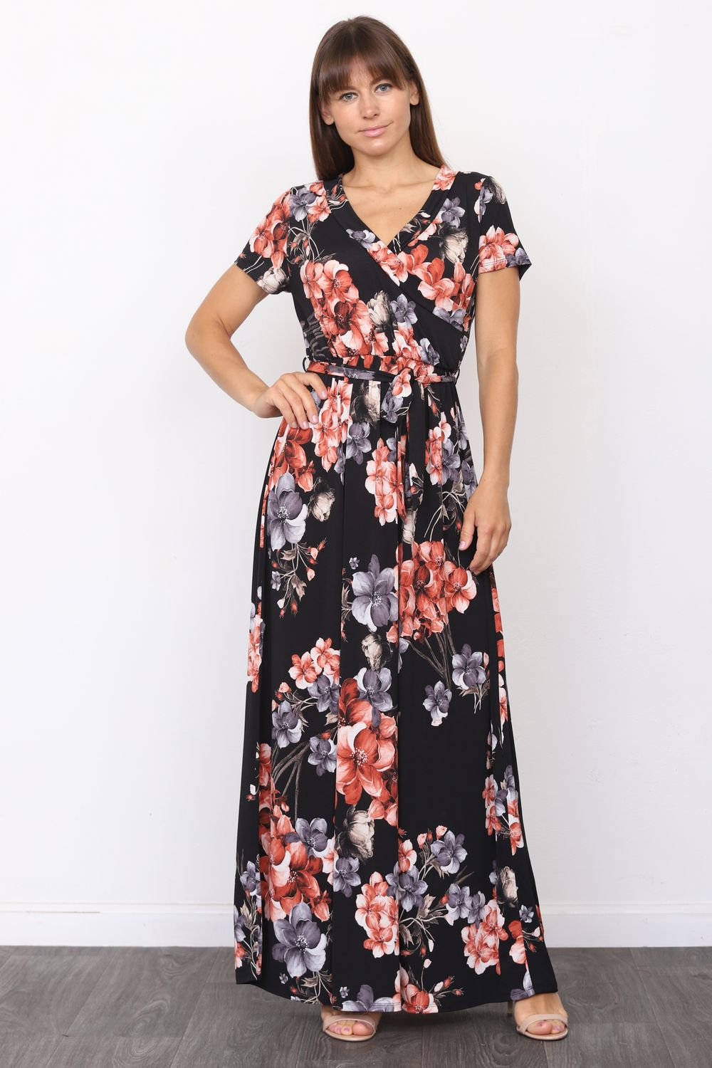 Black & Red Floral Short Sleeve Surplice Maxi Dress with Sash