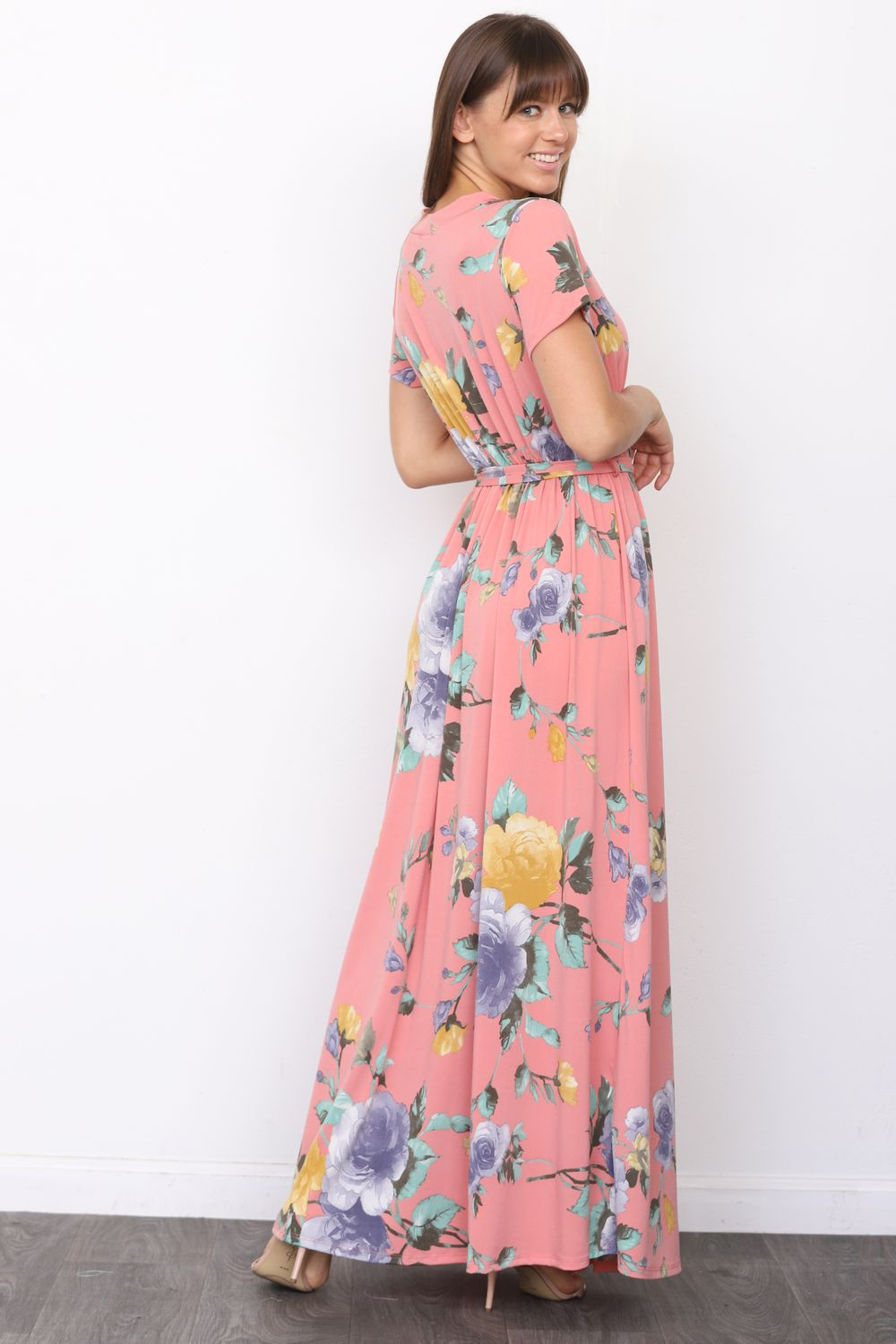 Coral Pink Floral Short Sleeve Surplice Maxi Dress with Sash