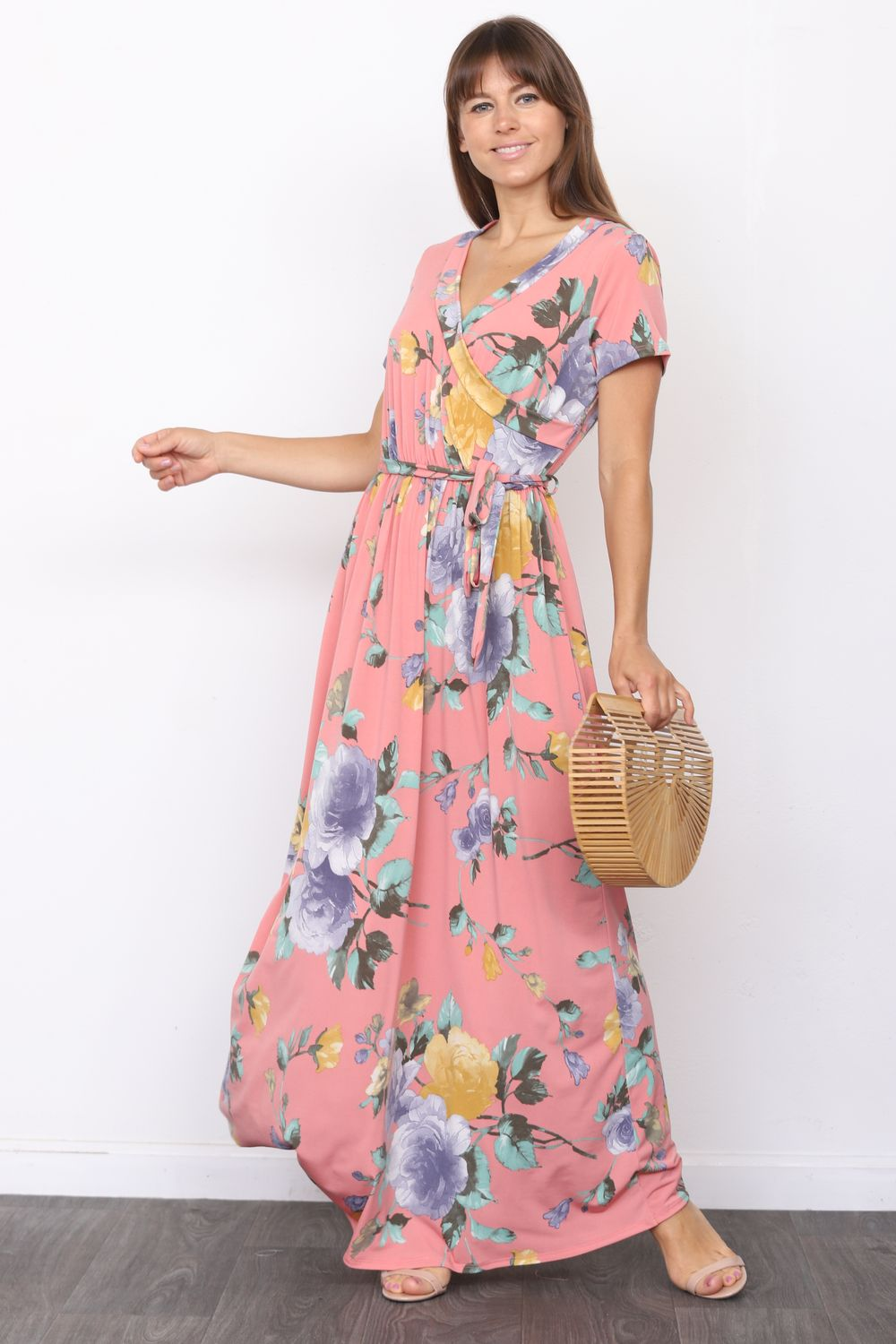 Coral Pink Floral Short Sleeve Surplice Maxi Dress with Sash_Plus