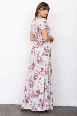 Mint Floral Short Sleeve Surplice Maxi Dress with Sash