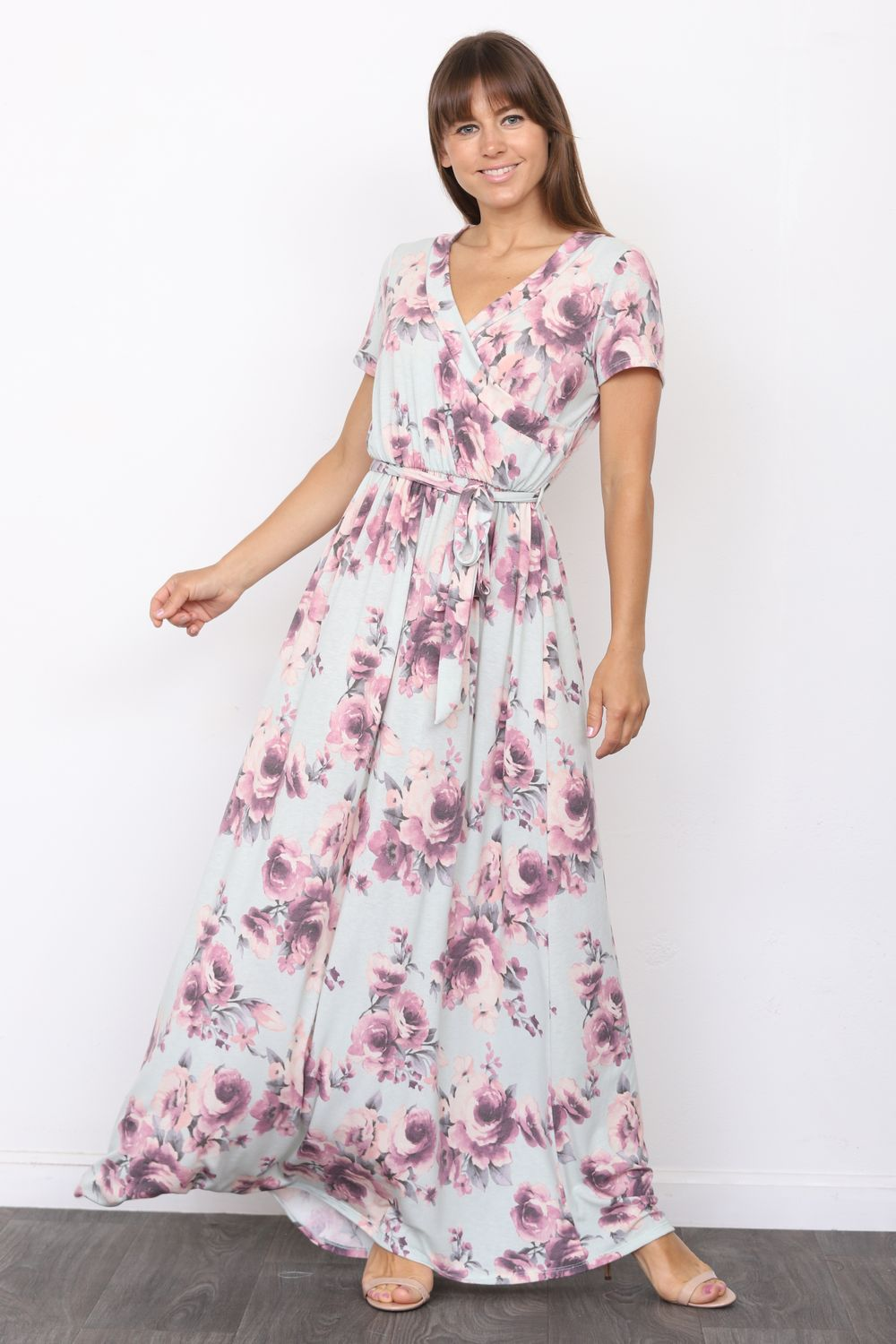 Mint Floral Short Sleeve Surplice Maxi Dress with Sash_Plus