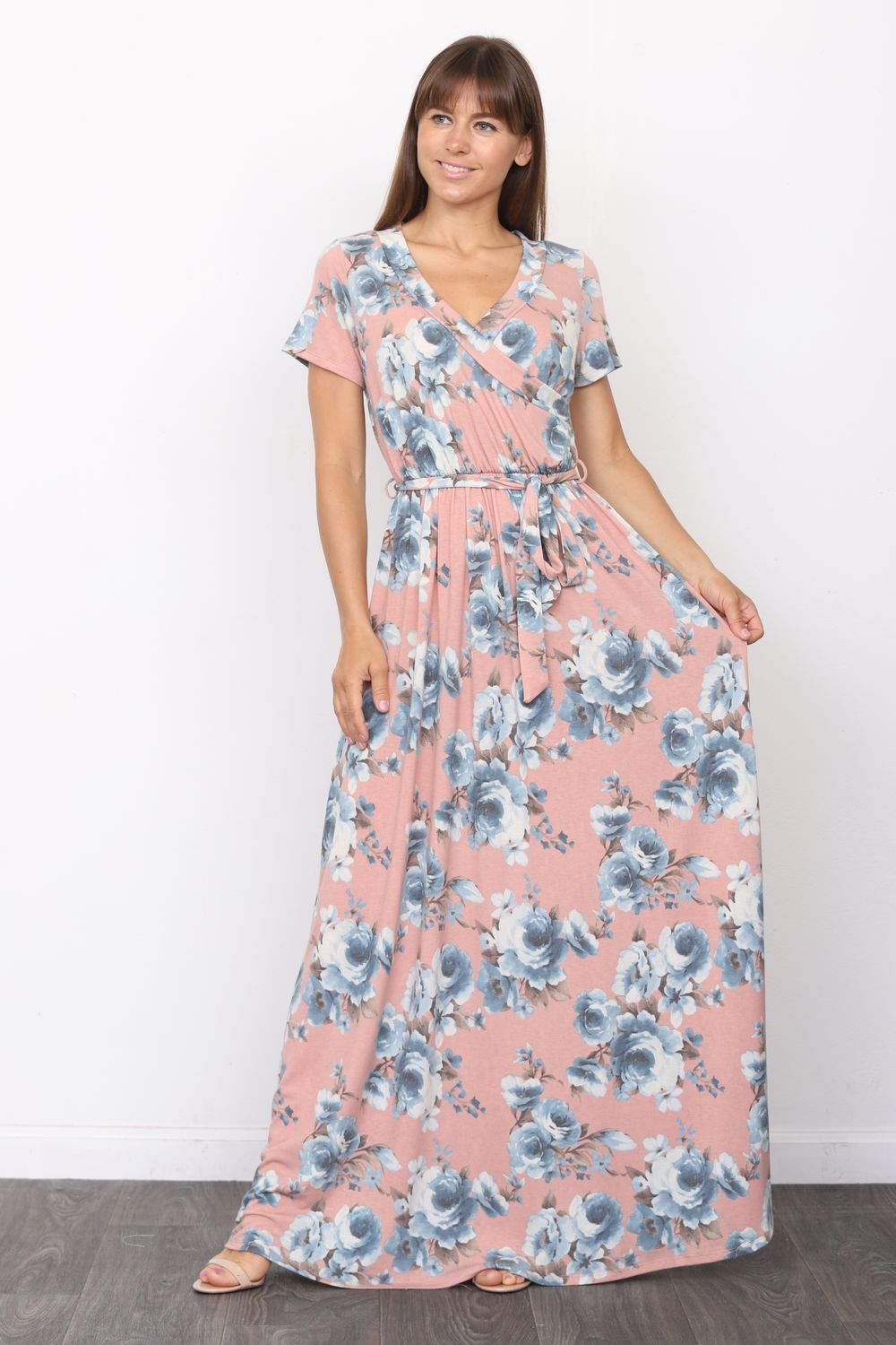 Pink Floral Short Sleeve Surplice Maxi Dress with Sash