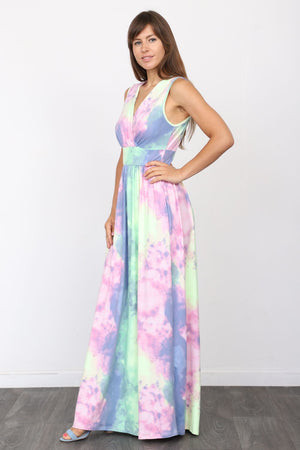 Pastel Tie Dye Surplice Sleeveless High Waist Maxi Dress