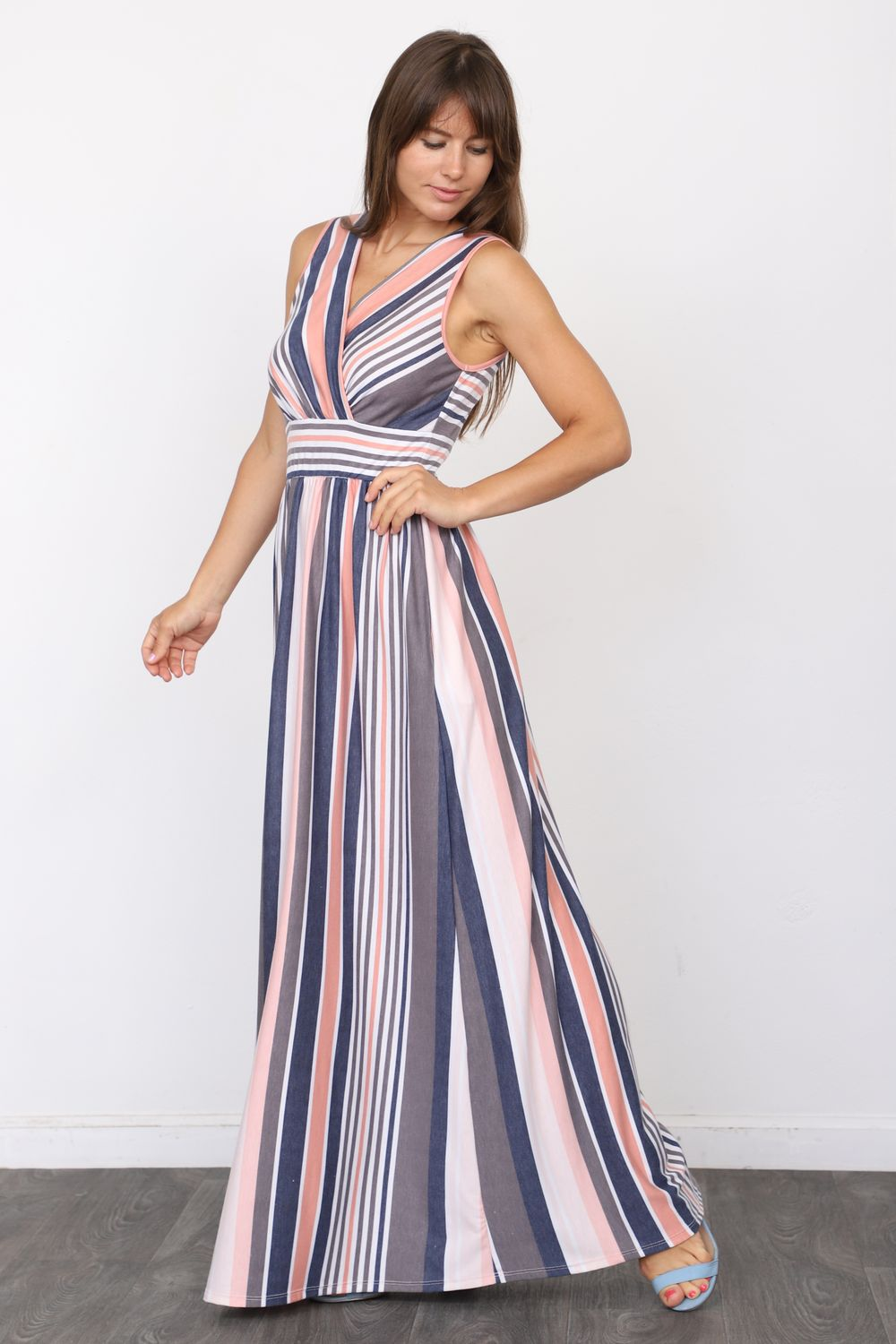 Pink & Navy Stripe Surplice Sleeveless High Waist Maxi Dress
