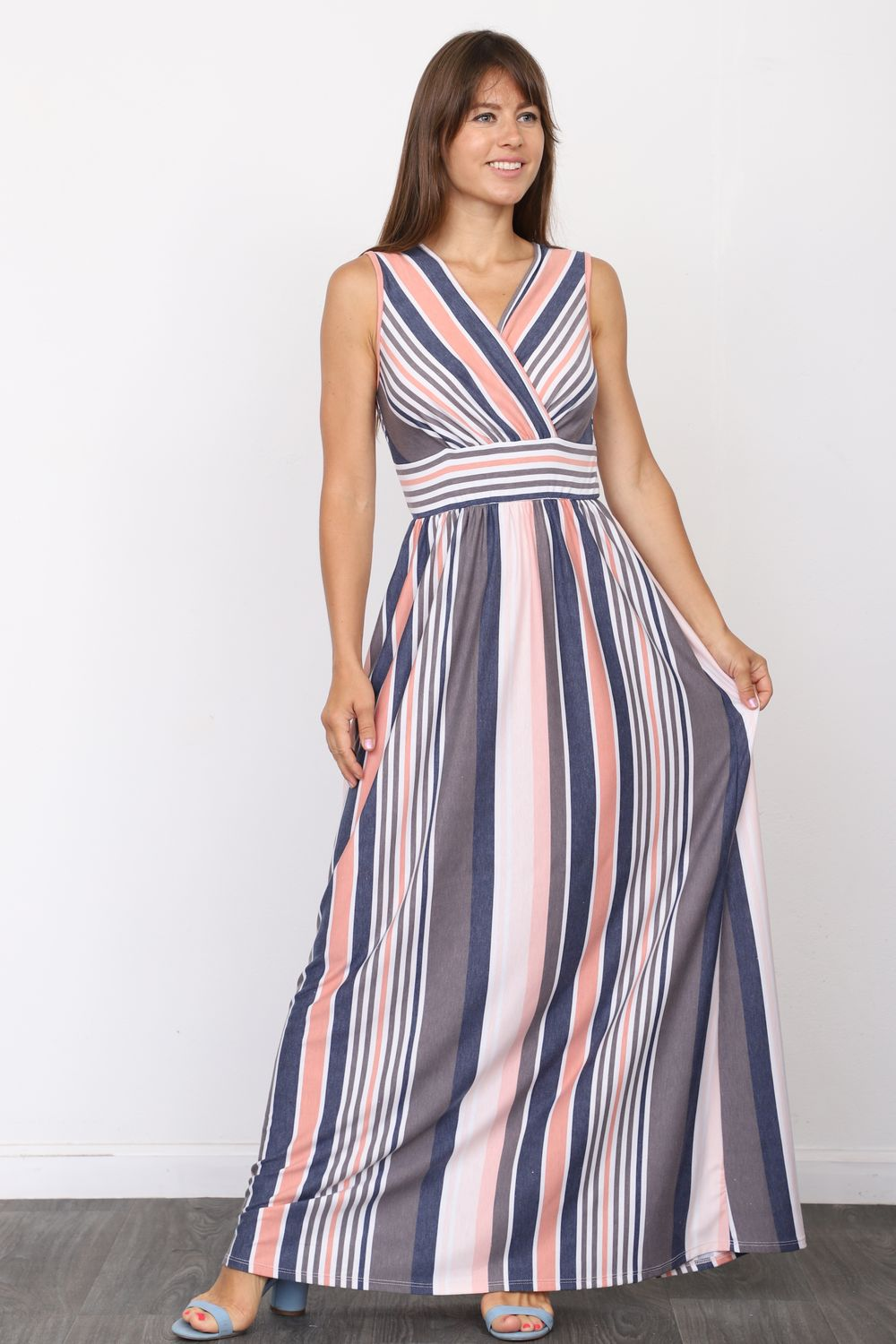 Pink & Navy Stripe Surplice Sleeveless High Waist Maxi Dress_Plus