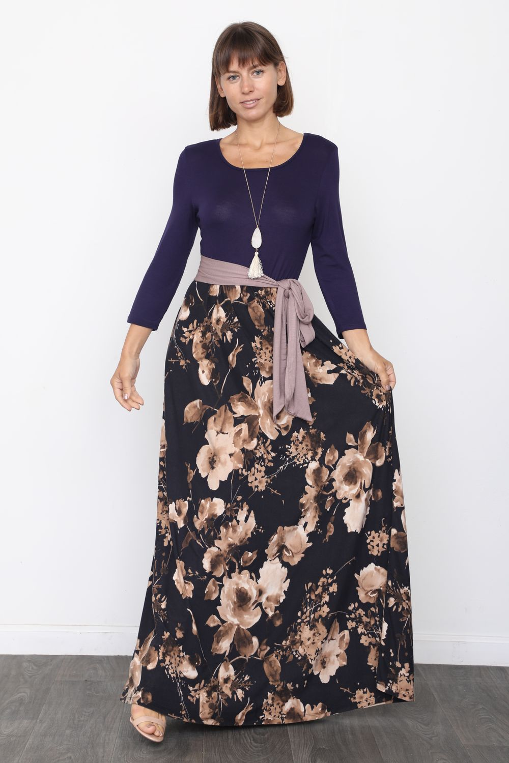 Navy & Black Floral Sash Maxi Dress