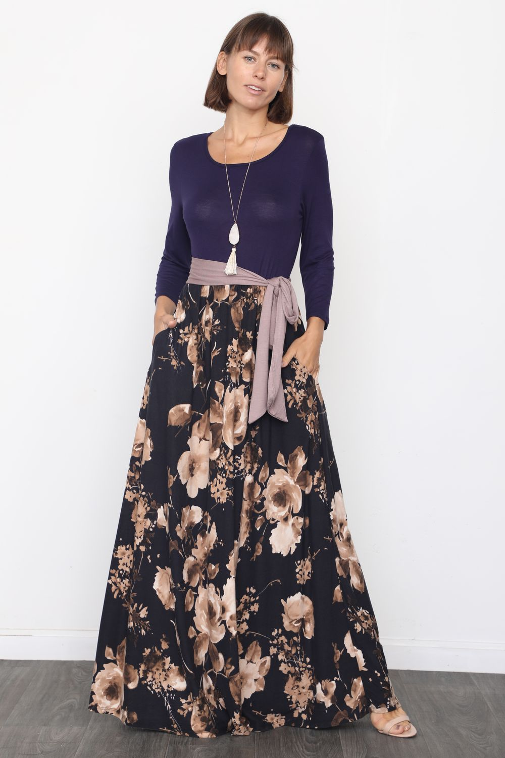 Navy & Black Floral Sash Maxi Dress_Plus