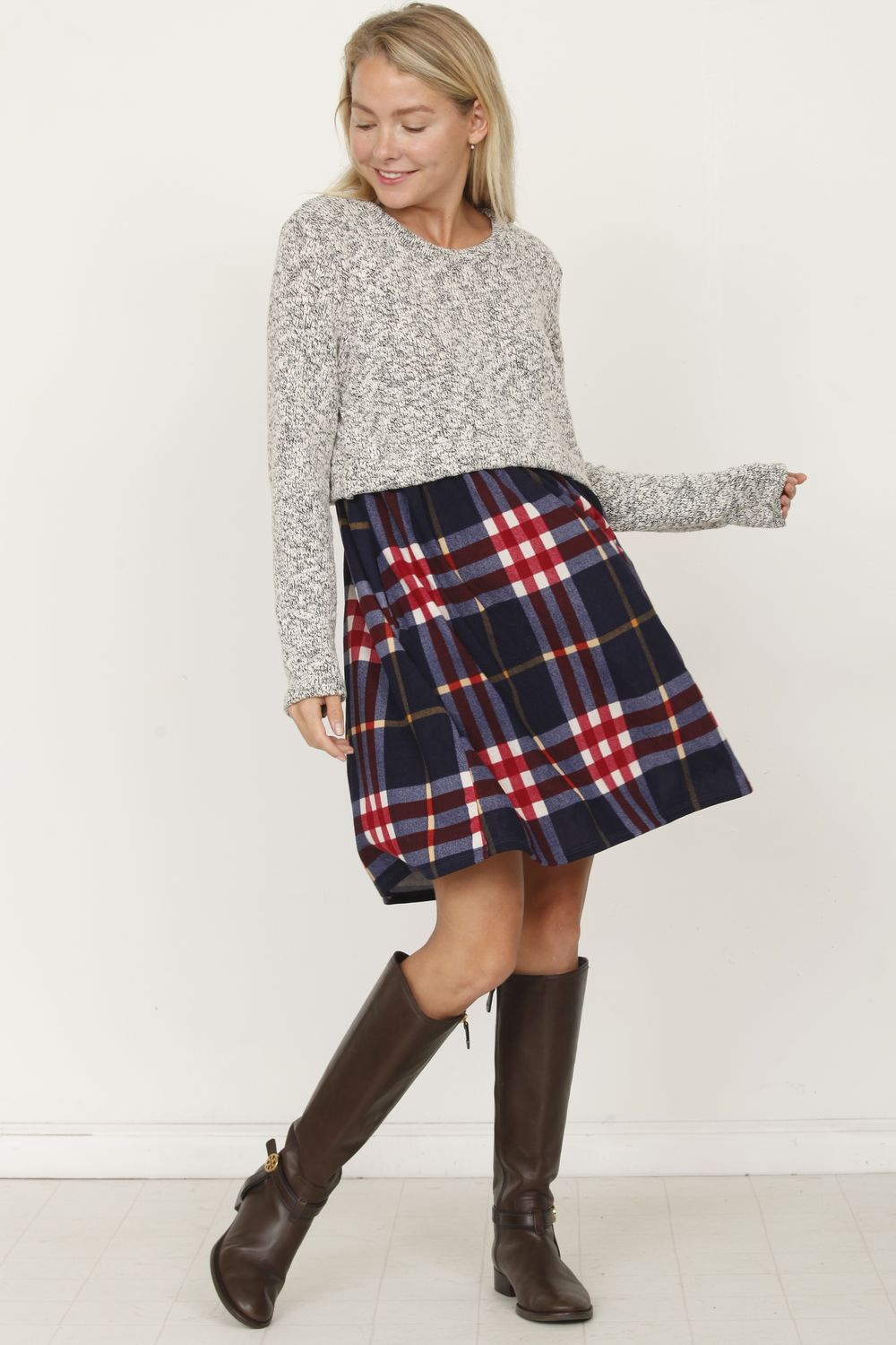 Navy Plaid Pullover Mini Dress