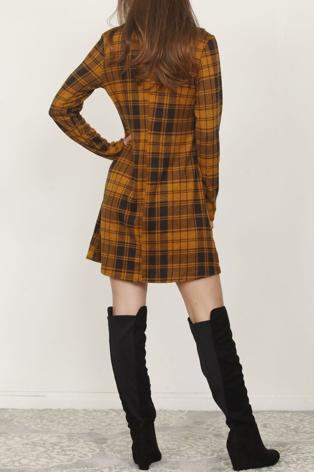 Mustard Plaid Front Button Accent Mini Dress