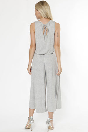 Grey Sleeveless Cropped Jumpsuit