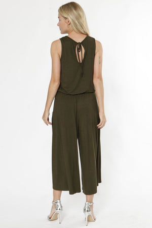 Olive Sleeveless Cropped Jumpsuit