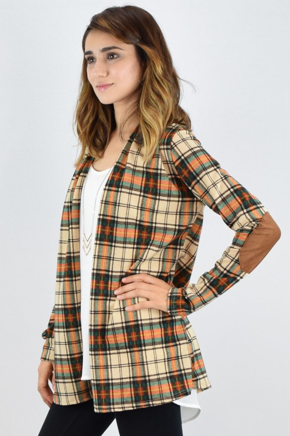 Cream Orange & Green Plaid Elbow Patch Cardigan_S